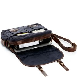 SID & VAIN Messenger bag CHASE Canvas & Leder blau-braun Laptoptasche Messenger bag 3