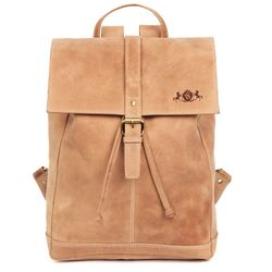 SID & VAIN Stadt-Rucksack SAM Büffelleder braun-beige Backpack Tagesrucksack Stadtrucksack Rucksack
