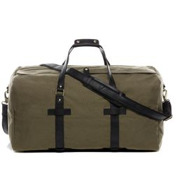SID & VAIN Airplane Underseat Travel Duffel Bag Canvas & Leather olive-black travel bag holdall carry-on Travel Duffle