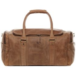 SID & VAIN Airplane Underseat Travel Duffel Bag Buffalo Leather brown-cognac travel bag holdall carry-on Travel Duffle