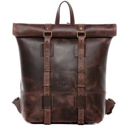 SID & VAIN Rucksack Roll Top CHAZ Büffelleder braun Backpack Tagesrucksack Kurierrucksack Rucksack