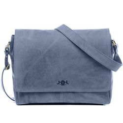 SID & VAIN Messenger Laptoptasche SPENCER Büffelleder blau Businesstasche Laptoptasche Messenger Bag