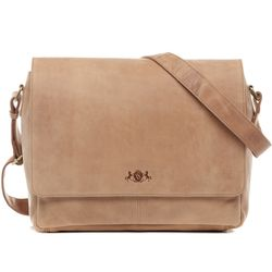 SID & VAIN Messenger Laptoptasche SPENCER Büffelleder natural Businesstasche Laptoptasche Messenger Bag