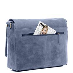SID & VAIN Messenger Laptoptasche SPENCER Büffelleder blau Businesstasche Laptoptasche Messenger Bag 3