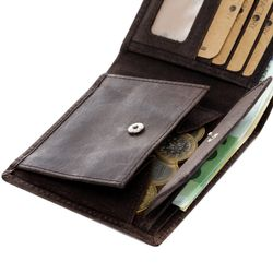 SID & VAIN Geldbeutel JASON Büffelleder dunkelbraun Brieftasche Geldbeutel 3