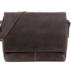 SID & VAIN messenger bag SPENCER 15'' shoulder bag XL brown Smooth Leather laptop courier cross-body bag
