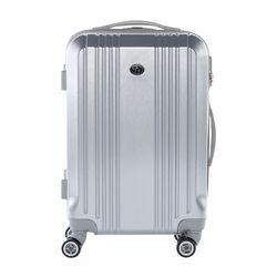 FERGÉ Handgepäck-Koffer CANNES ABS Dure-Flex Silver Metal Optik Reisekoffer Kabinen-Trolley 4 Rollen Handgepäck-Koffer Hartschale