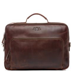 SID & VAIN business office work shoulder bag  laptop case Natural Leather brown-cognac laptop bag Shoulder Bag