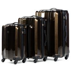 FERGÉ 3er Kofferset Dijon - Trolley-Koffer Hartschale leicht 3 sizes ABS & PC braun Set 3-teilig Hartschalenkoffer 4 Komfortrollen (360°) 5