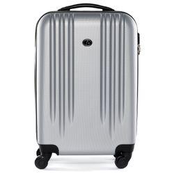 FERGÉ Handgepäck-Koffer Marseille ABS Dure-Flex silber Reisekoffer Kabinen-Trolley 4 Rollen Handgepäck-Koffer Hartschale
