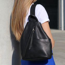 BACCINI sac à dos EMILIA havresac en cuir backpack petit noir