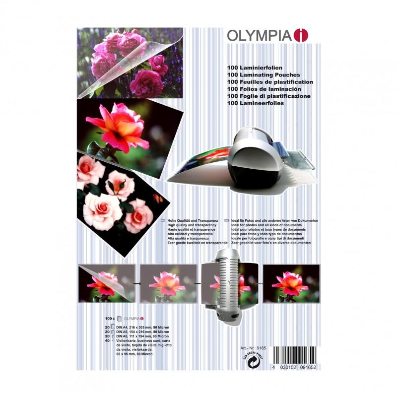 OLYMPIA Laminierfolien-Set, 100 gemischte Folien, 80 Mikron