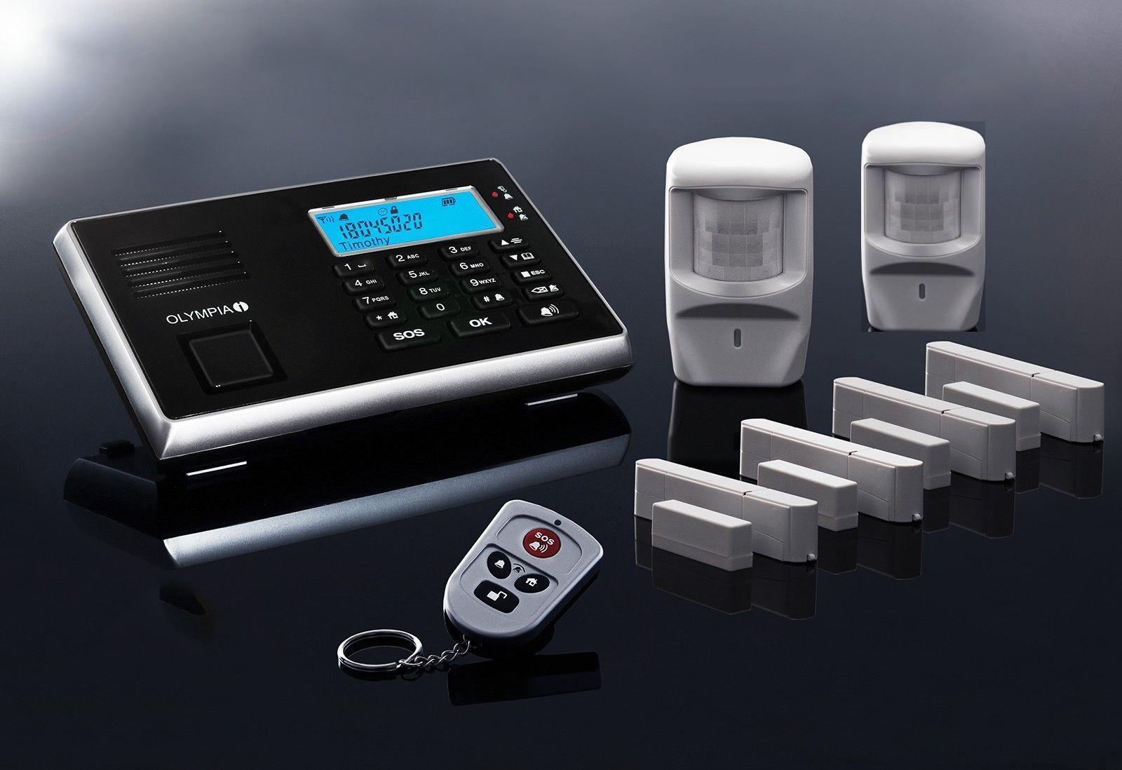 OLYMPIA Protect 9061 Premium Plus Alarmanlage GSM Funk Set mit 2 Bewegungsmeldern, 4 x Tür Fenster/Kontakten und Fernbedienung