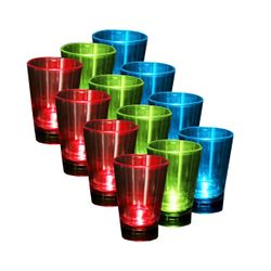 12 Pieces IOIO LED 92 Schnapps Glass 60 ml in 3 Different Colours