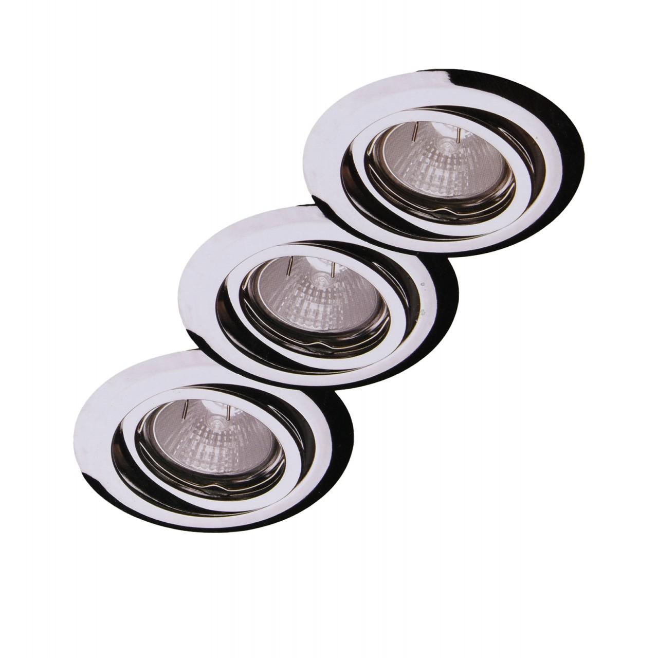 3er set halogen einbaustrahler 3 x 35 watt in chrom ebay. Black Bedroom Furniture Sets. Home Design Ideas