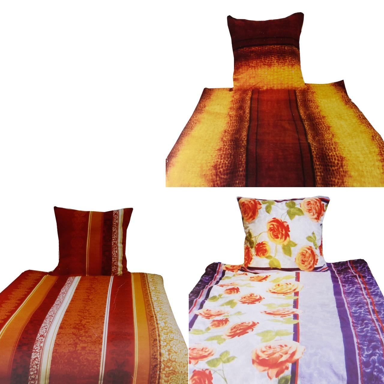 Edle Microfaser Fleece Bettwäsche Set, 4-teilig, verschiedene Designs