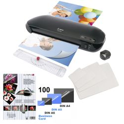 Laminator Set 4 in 1 OLYMPIA A 230 Plus with Trimmer, Edge-Rounder and 100 mixed laminating films