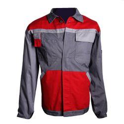 WILLAX Arbeitsjacke Kontrast Design, Grau-Rot
