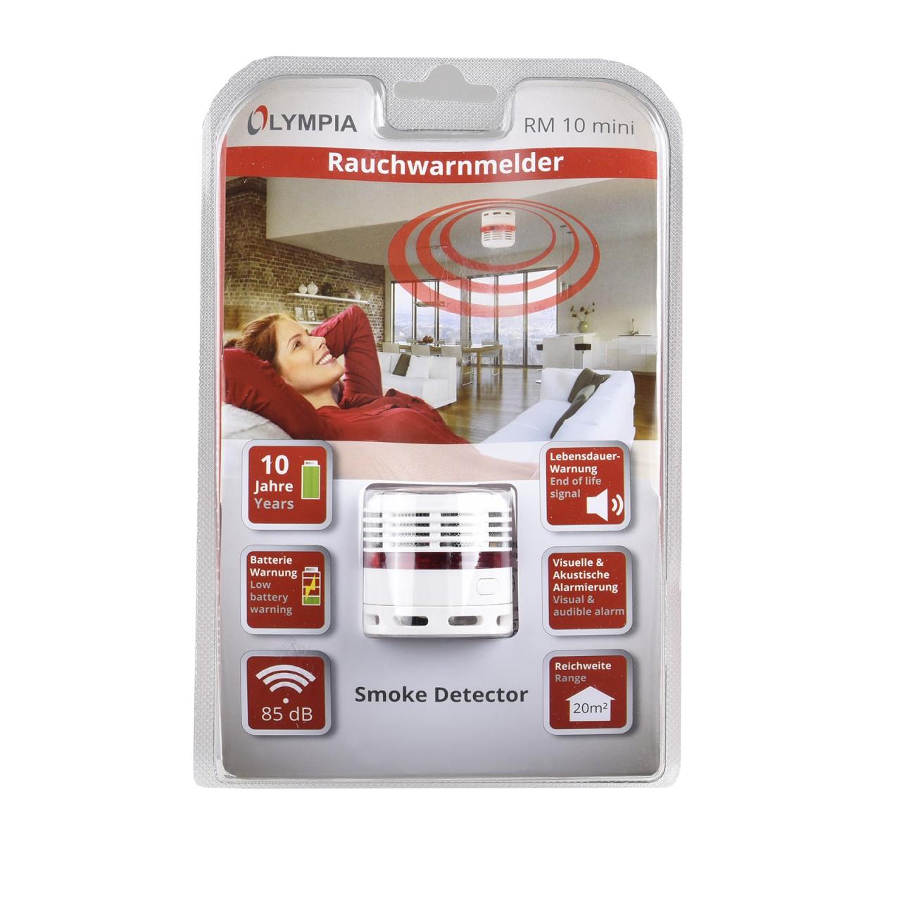 2 st ck olympia rm 10 mini rauchmelder 10 jahres batterie. Black Bedroom Furniture Sets. Home Design Ideas