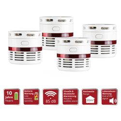 4 Mini Smoke Detectors with 10 Years of Battery Lifetime 85db OLYMPIA