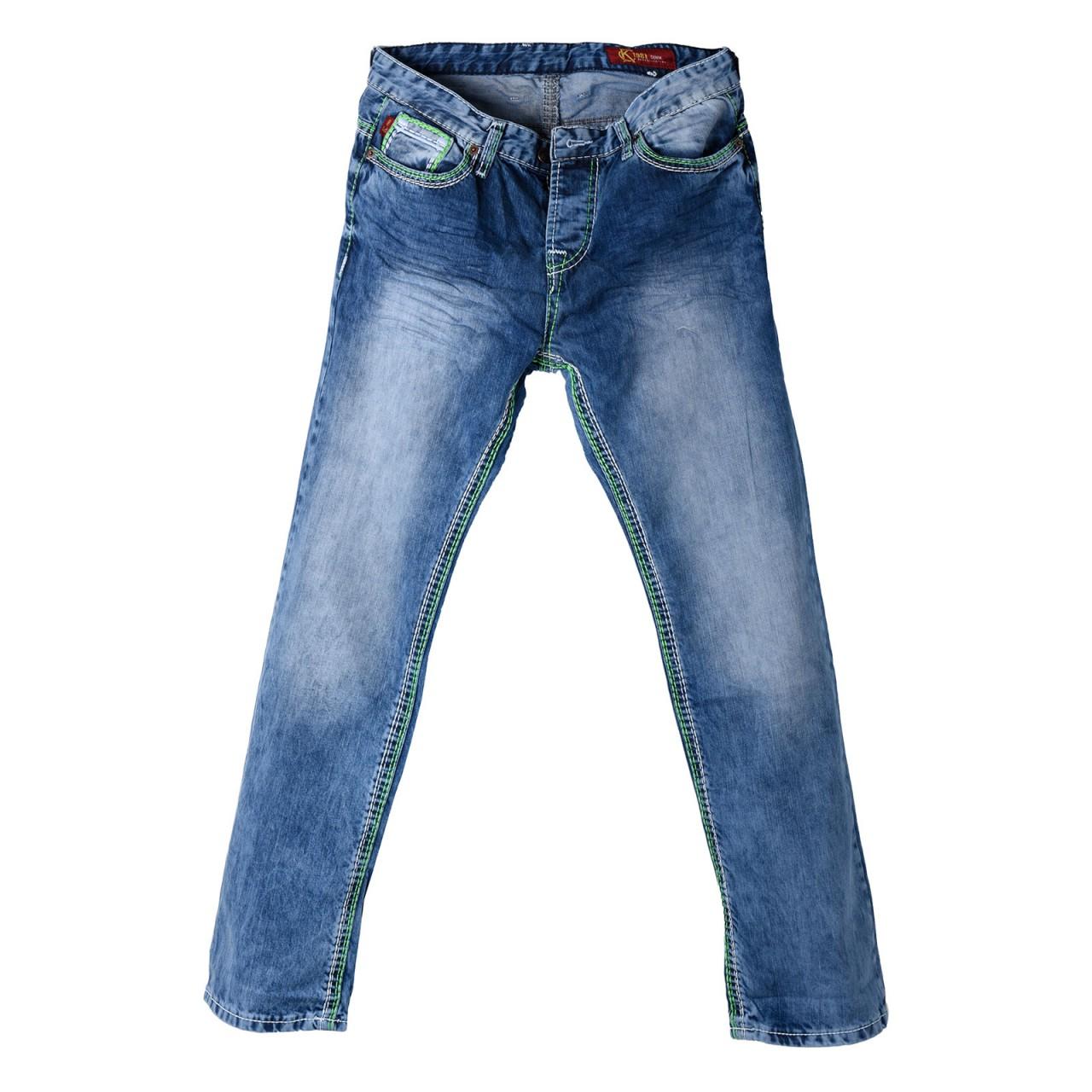 Herren Jeans im Used Look mit grünen XL-Nähten