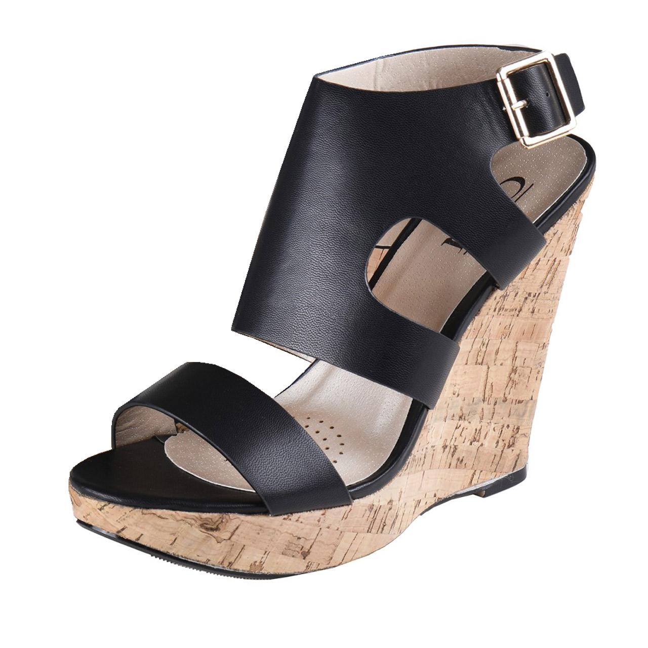 sandale mit kork keilabsatz schwarz. Black Bedroom Furniture Sets. Home Design Ideas