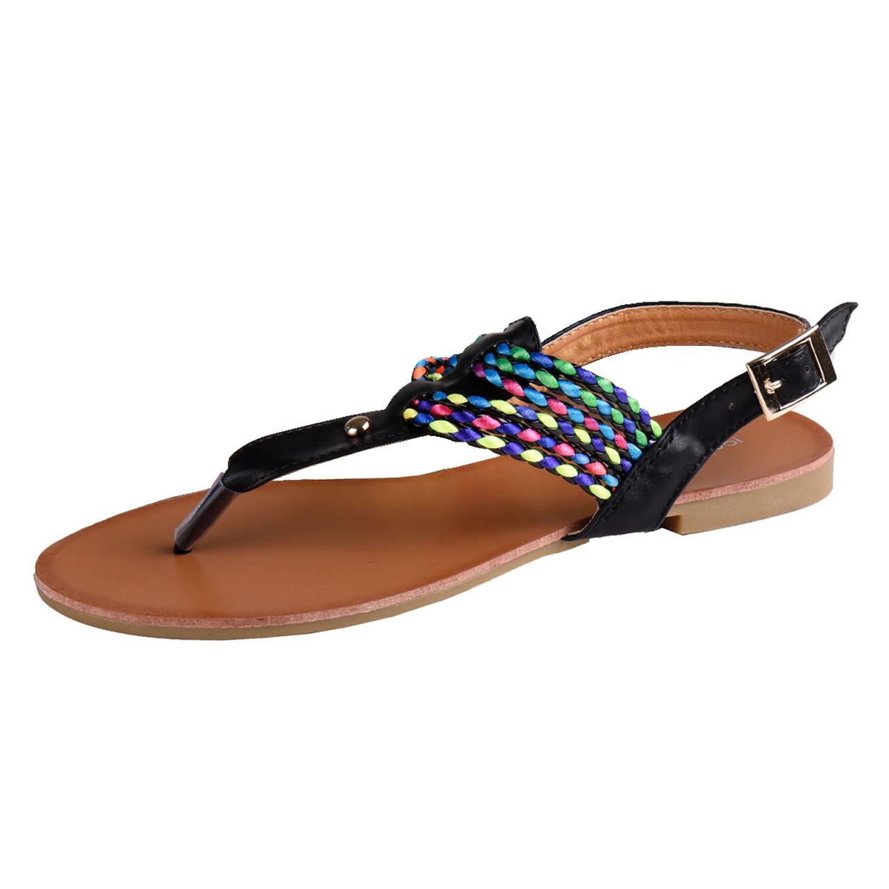 sandale in den farben schwarz und wei mit bunten riemchen in vielen gr en ebay. Black Bedroom Furniture Sets. Home Design Ideas