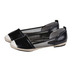 Ladies Slip-On Ballerinas Jute and Leather Look