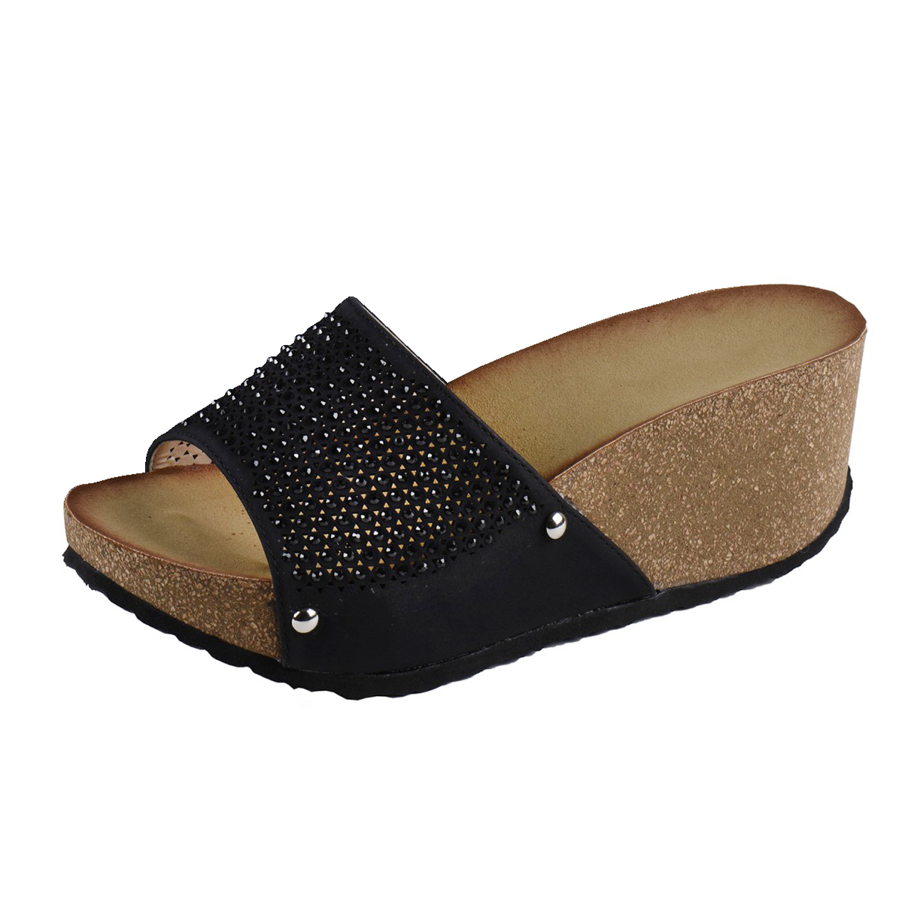 damen plateau sandalen gloria mit strassteinen ebay. Black Bedroom Furniture Sets. Home Design Ideas