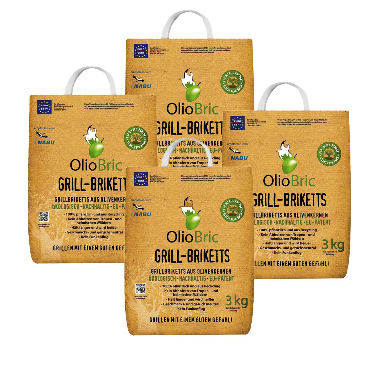 OLIOBRIC Olivenkern Grill-Briketts, 12 kg
