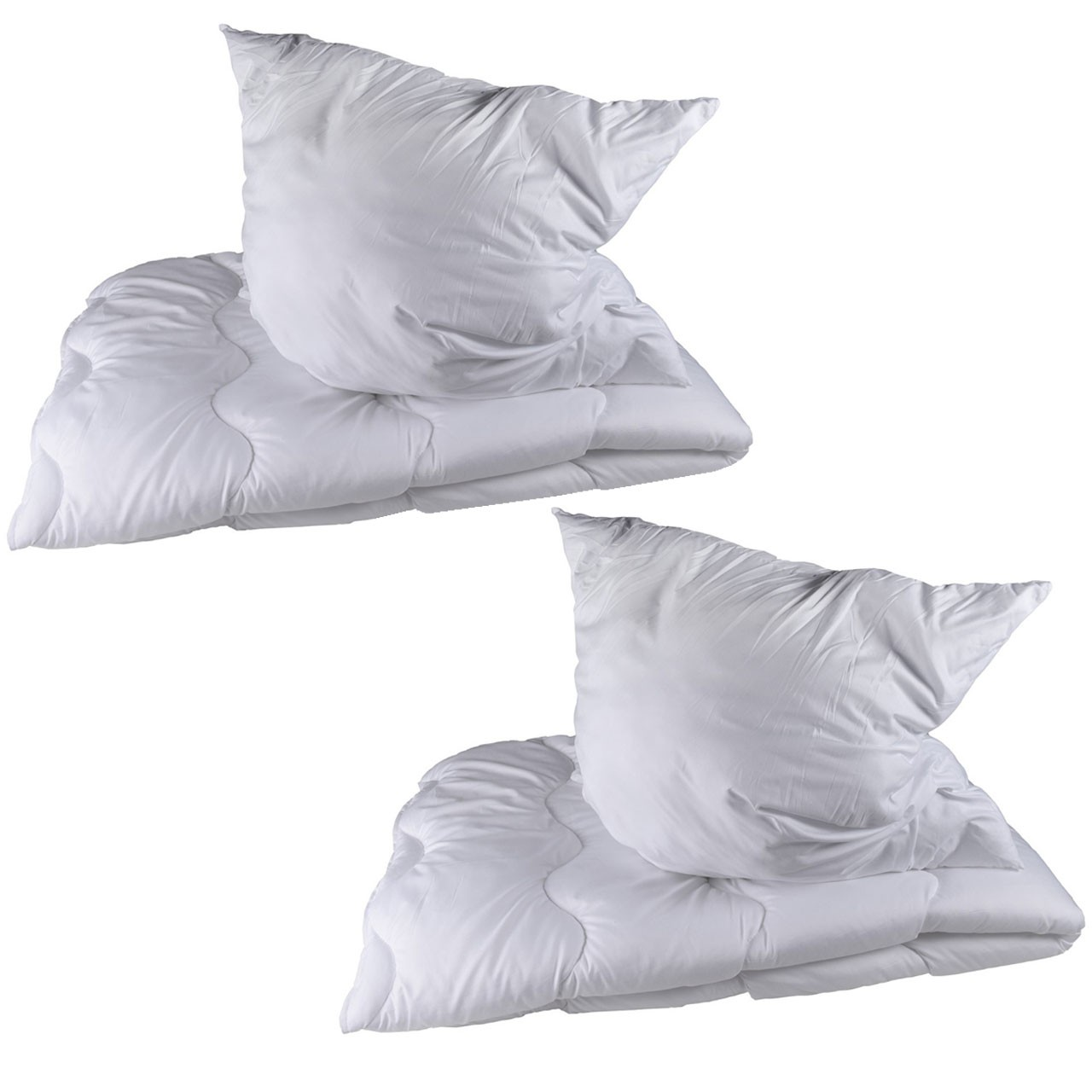 2 Stück Premium Steppbettdecken Set, Steppbett 135 x 200 cm mit Kopfkissen 80 x 80 cm