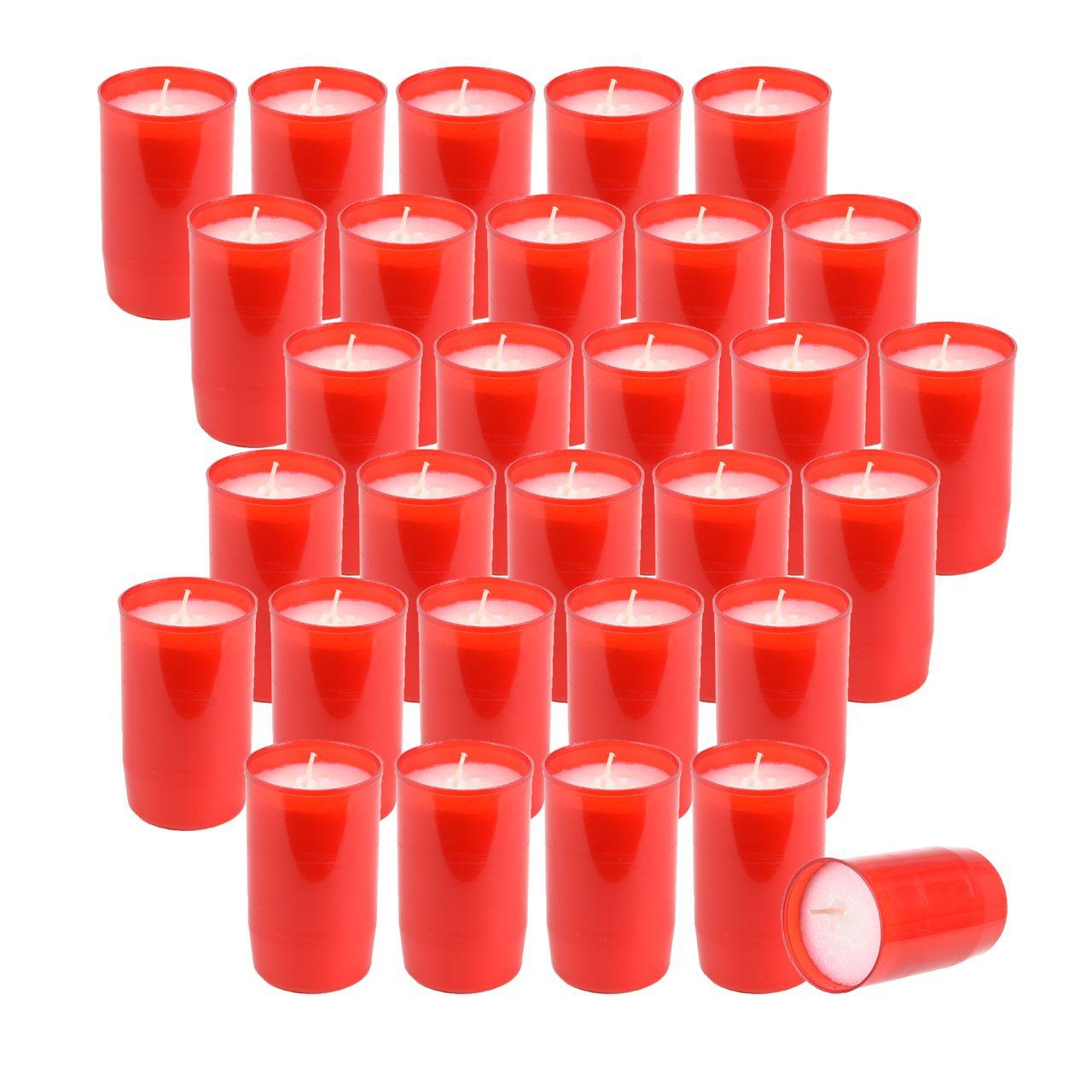30 Stück ST. JAKOB'S Nr.3 Premium Grablichter, Kompositions Öl-Lichter, Rot