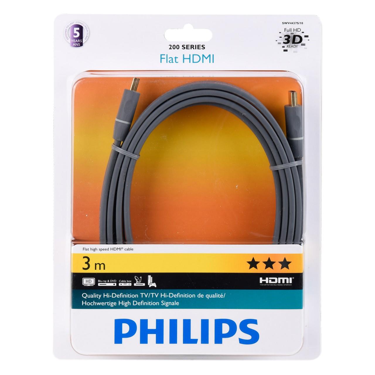 HDMI 1.4 Audio-/Video-Kabel 3,0 m Ultra Flach, Schwarz