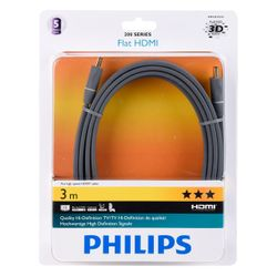 PHILIPS HDMI 1.4 Audio-/Video-Kabel 3,0 m Ultra Flach, Schwarz