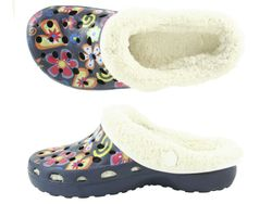 CAMPRELLA Kinder Phylon Clogs mit Warmfutter, Navy