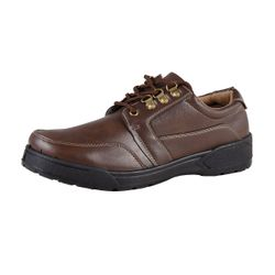 Men Low Shoes Lace-up with decorative stitching brown