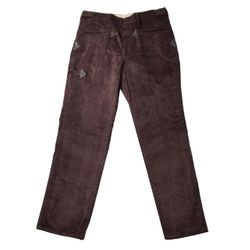WILLAX Manchester Trousers with leather applications, Brown