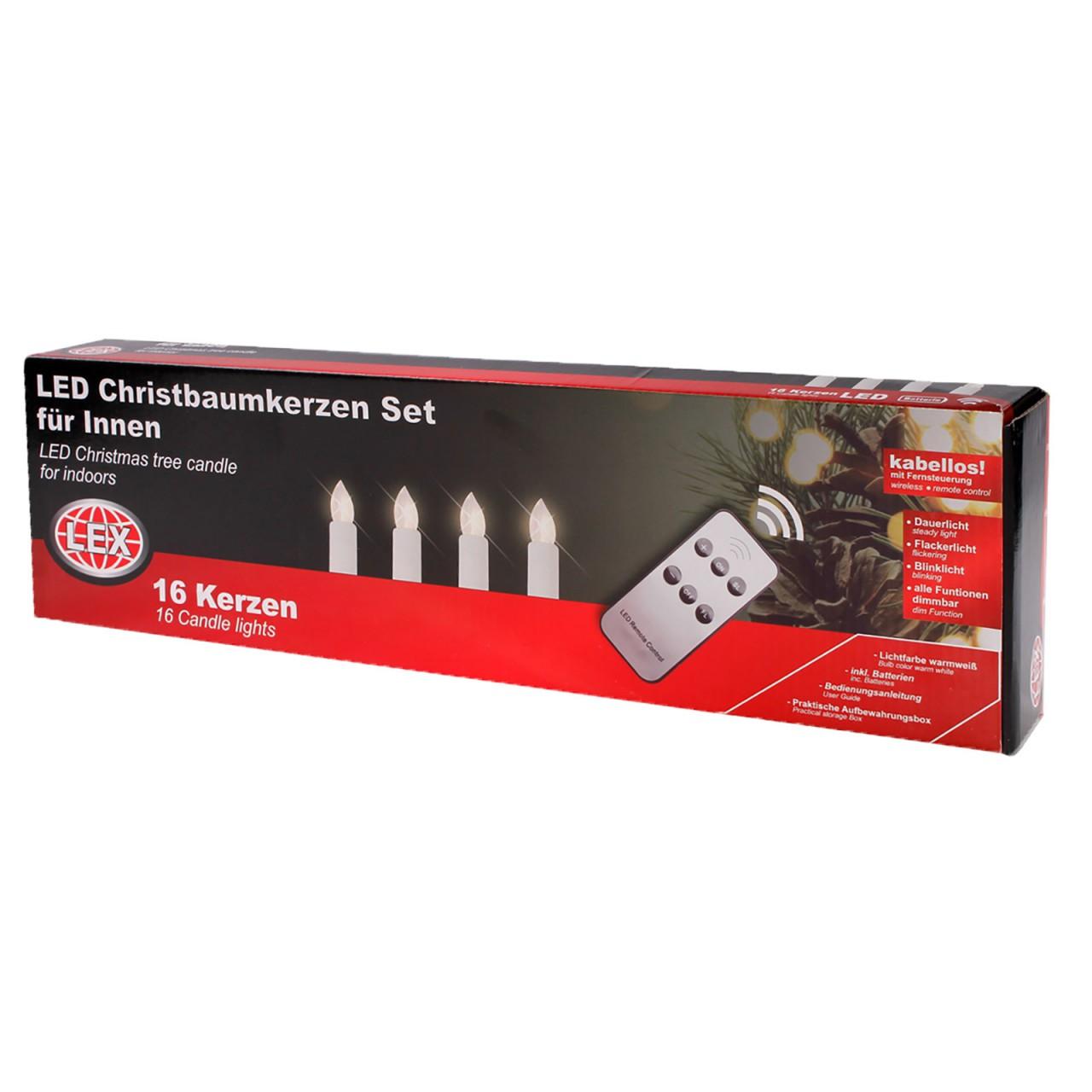 LEX 16er Set LED Christbaumkerzen einzelnd mit Clips und Fernbedienung
