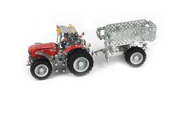 TRONICO Mini Serie MASSEY FERGUSON MF-5610 Traktor mit Kippanhänger Metallbaukasten, 1:32