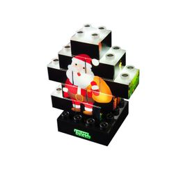 PUZZLE STAX® Junior X-Mas Edition, 10 modules LED, blanc, avec des motifs de Noël, incl. USB Power Base, 100% 00% compatibles avec des blocs de construction standard