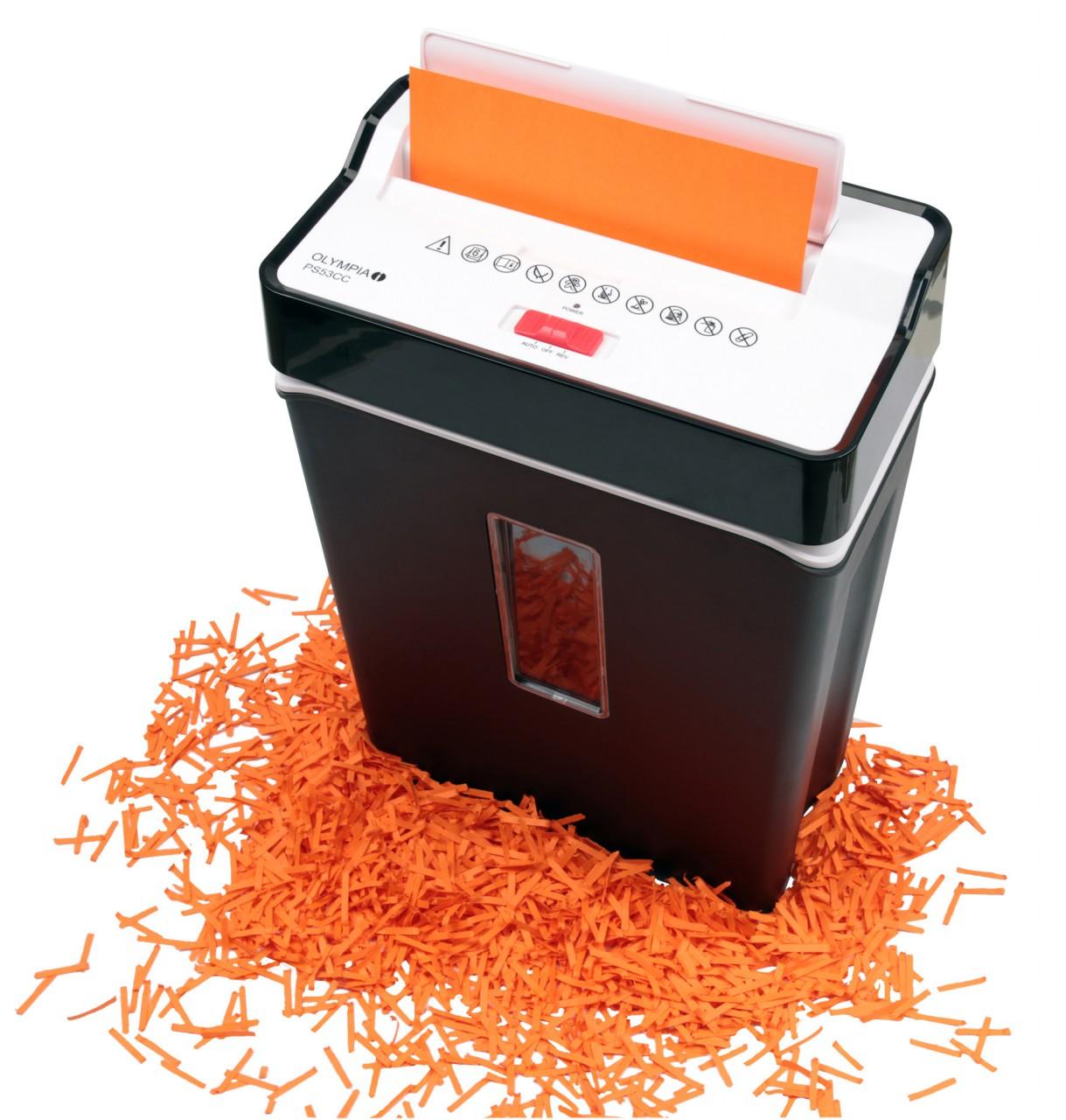 OLYMPIA PS 54CC im Set mit Ölpapier Partikelschnitt Aktenvernichter Schwarz