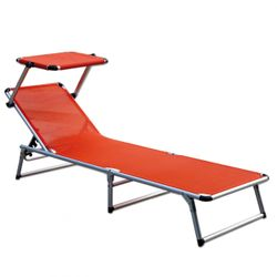 LEX Alu-Sun-Lounger with Sun-Roof in Orange, 188 x 57 x 25 cm