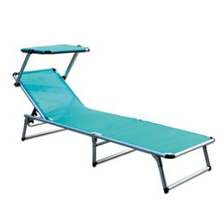 LEX Alu-Sun-Lounger with Sun-Roof in petrol, 188 x 57 x 25 cm