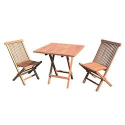 LEX 3-piece balcony set made of folding table and 2 folding chairs made of teak