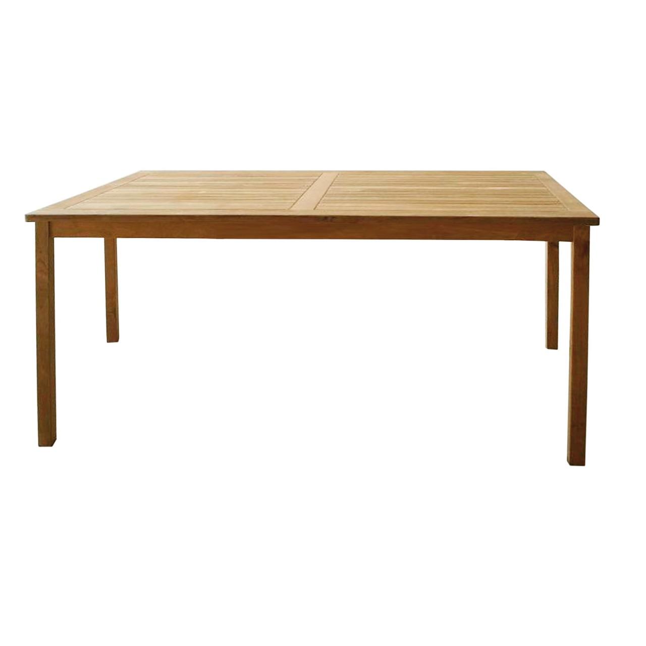 LEX jardin table de bois de teck, rectangulaire, 70 x 110 x 75 cm