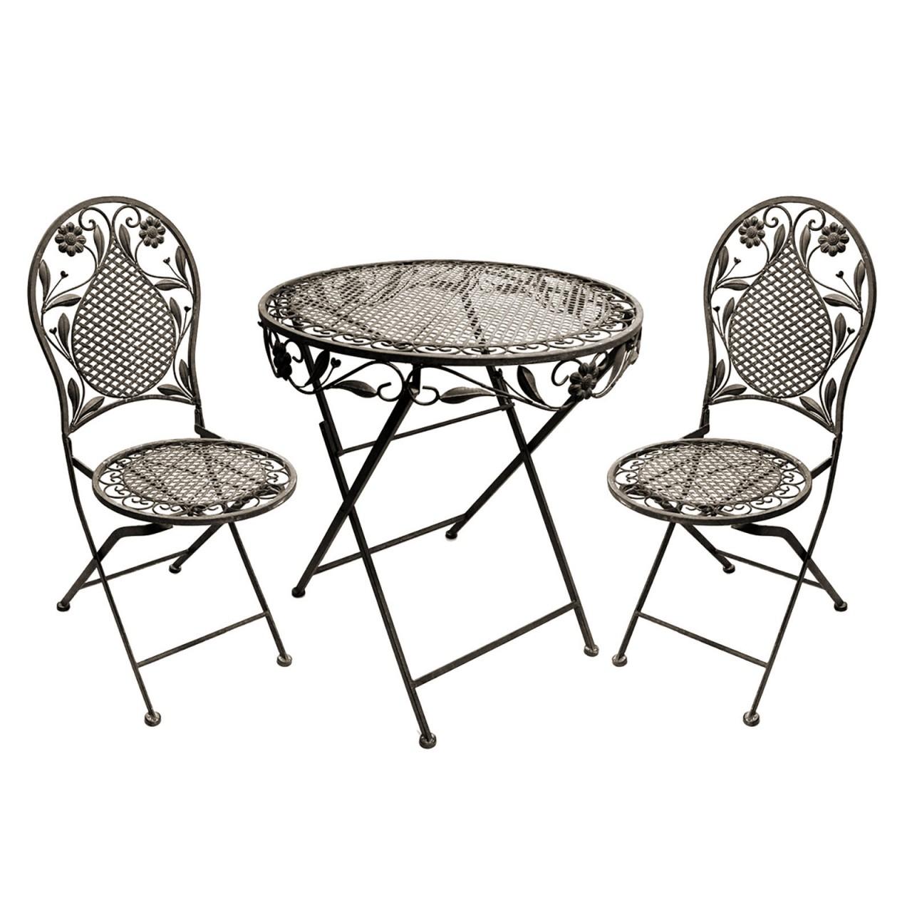 LEX Terrassen Set aus Eisen bestehend aus 1 Tisch und 2 Stühle ...