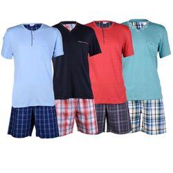 Herren Pyjama Shorty Premium 100% Baumwolle