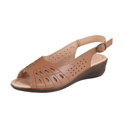 BETTY MAY Damen Sling Sandale, Hellbraun