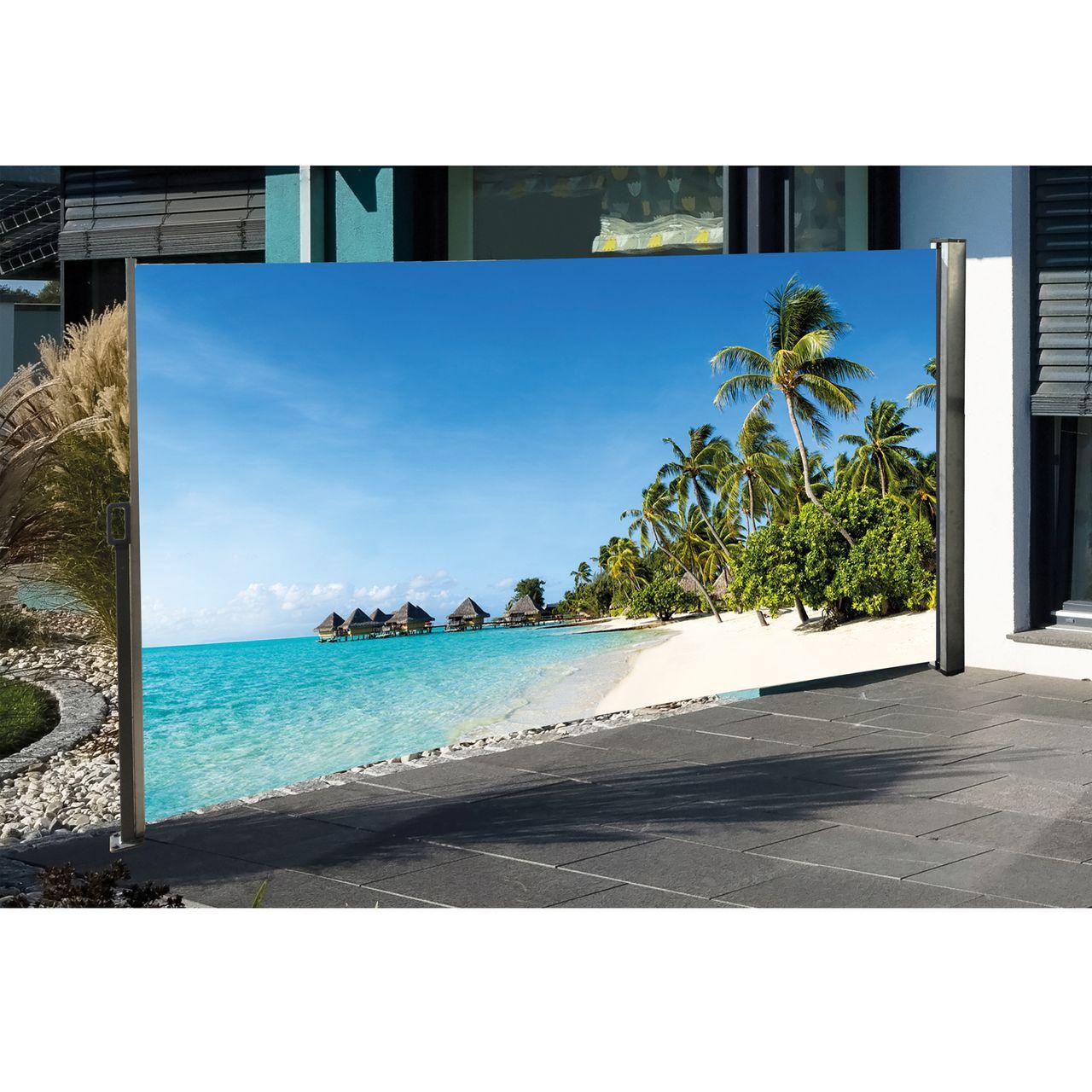Seitenmarkise Mit Fotodruck Karibik 160 X 300cm Sichtschutz