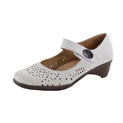 LISANNE COMFORT Damen Pumps, Ornamenten-Spangen-Applikation, Weiß